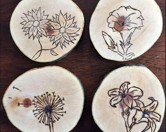 Wood-Burned Flower Coasters