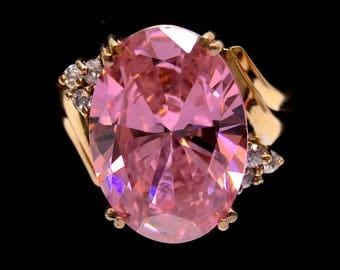 Large Pink Statement Ring In Solid Gold Setting