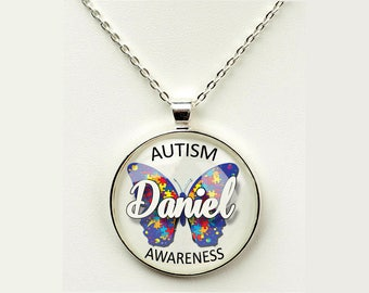 Personalized Autism Awareness Butterfly Pendant