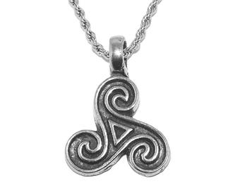 Small Celtic Triskele Triple Spiral Pendant Pendant Necklace with Chain