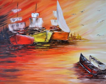 Boats at sunset . Original oil painting on canvas, Sea painting, Boats and sailboats, impasto art on canvas by Alekseenko 34x24 inches