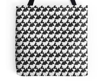Black Tote Bag, Geometric tote bag, market shopper, tote bag, geometric print, shopping bag, tote shopper, market bag, black geometric Bag