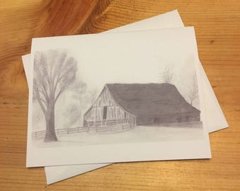 Old Barn Blank Note Card