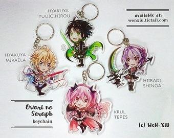Owari no Seraph Charm Acrylic Keychain - Hyakuya Yuuichirou, Mikaela, Hiiragi Shinoa, Krul Tepes
