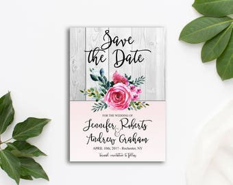 Printable Rustic Bohemian Save the Date Floral Wedding Pink Watercolor flowers Save the Date Invite WS-002