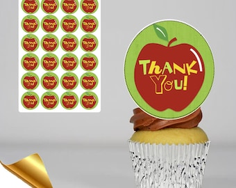 24 x 45mm Diameter Icing Cupcake Toppers - Thank You