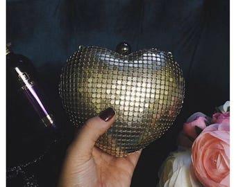 Gold heart clutch