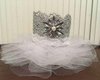 Newborn headbands,Newborn photo prop handmade princess crown/ silver jewel encrusted crown/baby shower gift, baby cown