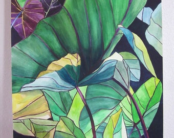 ORIGINAL watercolor painting, Leaves painting, Leaves watercolor, Green leaves, Large watercolor, Large painting, Green flowers, Leaves art