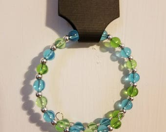 Girls Green & Blue Wrap Bracelet, Glass beads, Nickel-free Memory Wire. KB3