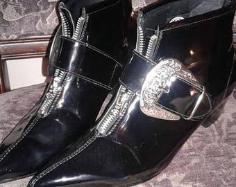 Goth Pikes Co Cuban Heel Womens Black Patent Winklepicker Size 7 US