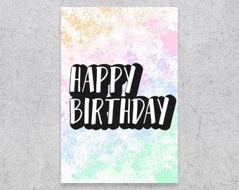 Pastel Rainbow Splatter Birthday Card