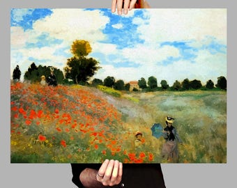 Poster 50x70 cm Poppy Field - Claude Monet Digital