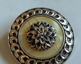Vintage Silver Tone Metal And Mother Of Pearl Scarf Clip