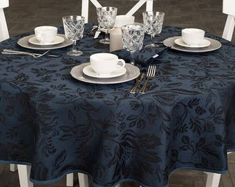 Round/Oval Tablecloths - made in Europe - linen/cotton material - dark Blue navy with Black Floral pattern