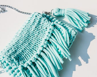 Knitted Clutch Purse (Mint Colour)