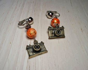 Gorgeous Bronze Camera Clip On Earrings, Handmads Clip On Earrings with Cameras for Young Photographers