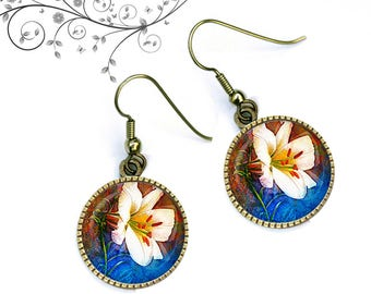 Earrings cabochon white lilies, Garden, spring