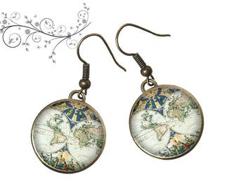 Dangle earrings map old world map, graphics, travel, resin cabochons