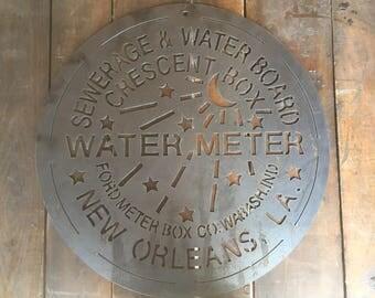 New Orleans Water Meter Cover Plasma Cut Metal Art ! (14ga Steel)