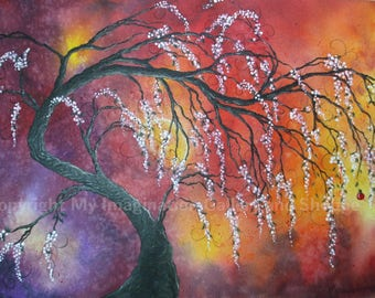 "art print of original acrylic painting 14"" x 19.25"" - abstract tree- lone apple"