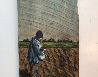 Folk Art Painting on reclaimed barn wood 16x8 inches by Zata Palange