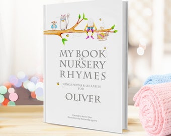 Personalised Nursery Rhyme & Poems Keepsake Book for Newborns and Toddlers - Perfect Baptism or Birthday gift