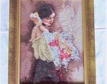 Woman with the bouquet cross stitch wall hanging