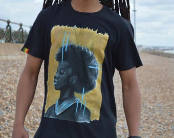 African Rasta Woman with Blue and Gold Detail T-shirt