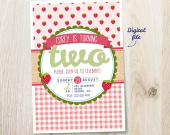 Strawberry Birthday Invitation - Picnic theme - 5x7 invite - printable digital file