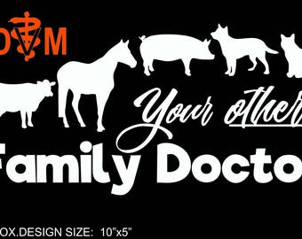 Veterinary Mixed Animal Vinyl Decal- DVM color option