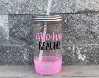 Aloha Beaches mason jar tumbler
