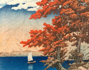 "Japanese Art Print ""Lake Chuzenji at Nikko"" by Kawase Hasui, woodblock print reproduction, cultural art, mountain, landscape, autumn"