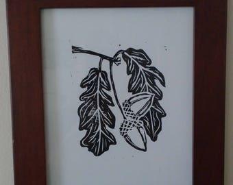 Acorn linocut print