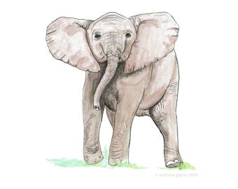 Baby Elephant Print, Original Watercolor Archival Print