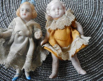 Set of 2 Bisque Antique German Dolls 1900