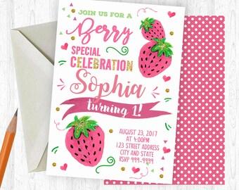Strawberry Birthday Invitation, Strawberry Invitation, Strawberry Invite, birthday invite, Birthday Party, Printable Invitation, Strawberry