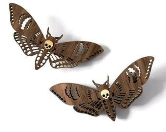 Wooden Deaths Head Moth Hair Clips