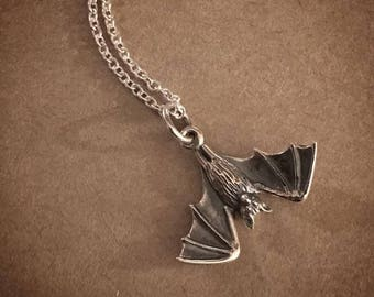 Hanging Bat Necklace - Sterling Silver