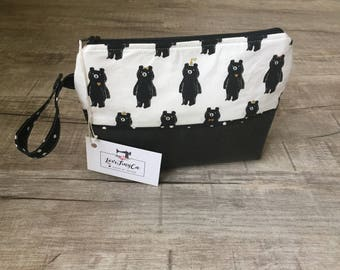 Leather Diaperpouch/Toiletries bag/ Cosmetic bag - BlacknWhite/ Diaper clutch / cosmetic bag