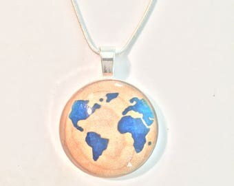 world map inlay pendant, curly maple or walnut