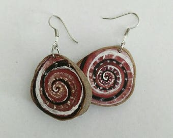 Handmade earrings decorated on nifty accessory Brown olive wood gift for her gift idea