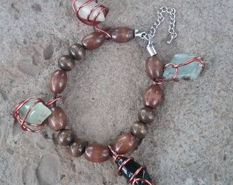 Leather, wood, and wire-wrapped crystal bracelet