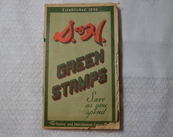 1960's Vintage S&H Green Stamp Book with Stamps