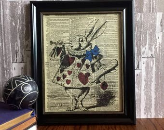 Alice in Wonderland Wall Art, Alice in Wonderland March Hare, Lewis Carroll print art on 8x10 upcycled dictionary page
