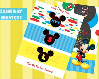 DIGITAL FILE - Mickey Mouse Water Label- Mickey Mouse Birthday Invitation - Mickey Mouse Club House Birthday Party - Mickey Mouse Printables