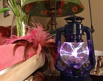 Steampunk, Steampunk Lantern, Tardis, Blue, Plasma Globe, Victorian, portable steampunk nightlight, unique gift, steampunk lamp, Steampunk