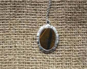 Silver Vintage Handmade Gemstone Pendant with a Necklace