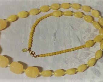 """Vintage """"346"""" Brooks Brothers Chunky Lucite Yellow Beaded Necklace - Signed"""