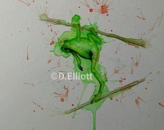 Original Watercolour and pencil painting of a tree frog.